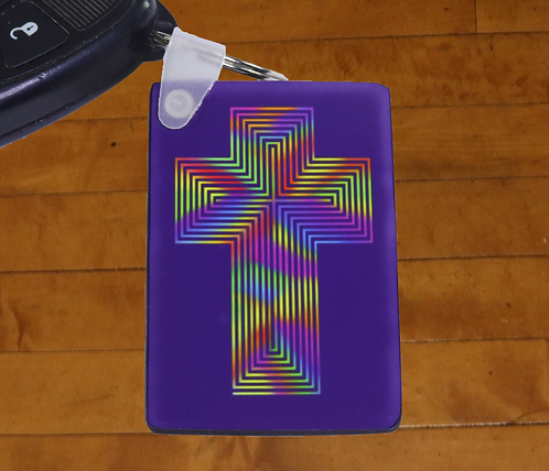 Rainbow Maze Cross of Jesus adorned MDF Hardboard Keychain, 1.5x2.5 inches