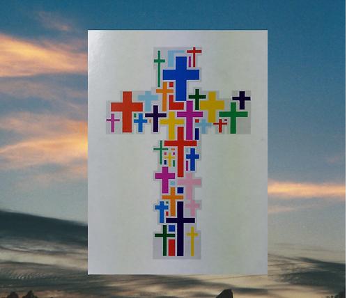 MultiCross Cross of Jesus in Full Color Magnet. 6x4