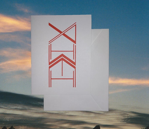 4 pack, Greeting card - 'Yahweh totem' graphic in red, 5x7
