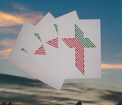 4 pack, '45 Degree Cross' decorated Christmas greeting card, 5x7
