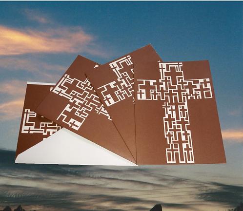 4 pack, Multicross Cross on maroon greeting card, 5x7