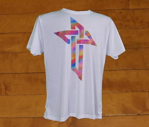 Rainbow Escher-Knot Decorated - DryTech - White T-Shirt
