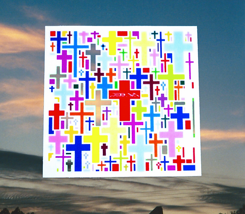 """Multi-Cross in color 3 pack of 3"""" x 3"""" stickers"""