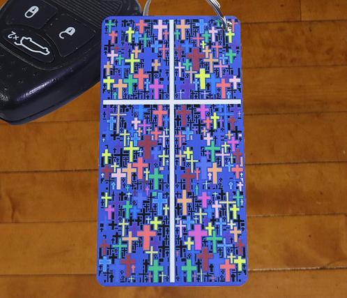 MultiCrossPlus Cross of Jesus Decorated Aluminum Keychain, 1x3 inches