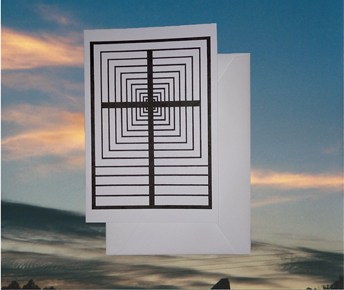 4 pack, Greeting card - 'Hallway' graphic of the Cross, 5x7