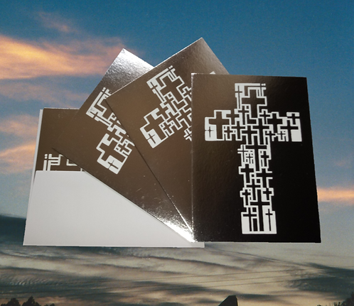 4 pack, Silver foil greeting card with 'Multicross Cross' graphic - 4x6