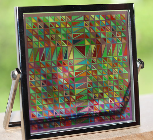 Aztec in Full Color Stained Glass in 4x4 Brass Frame