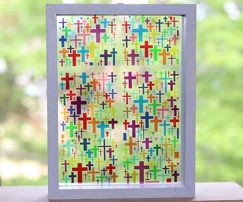 Multi-Quatro Cross Stained Glass , 6x8
