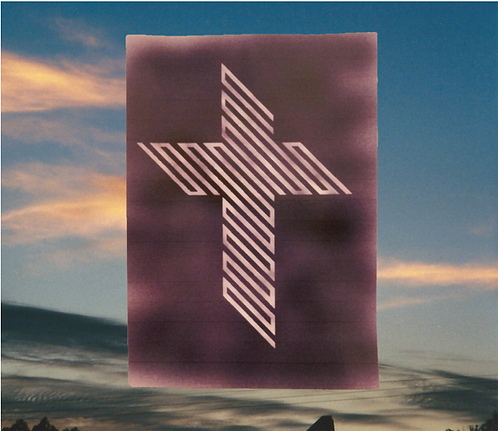 45 Degree Cross of Jesus - White on Powdered Black, 4x6 magnet