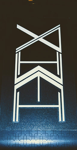 Clear Yahweh totem decals with white stenciling