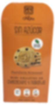 Mini galletas de choco chips y naranja. Libre de Azúcar. Apto para diabeticos. Endulzado con Stevia.