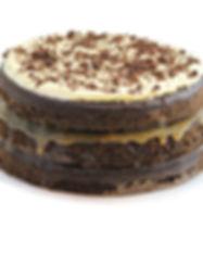 Queque de chocolate de tres pisos con tres rellenos. Libre de Azúcar. Apto para diabeticos. Endulzado con Stevia.