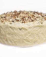 Queque de zanahoria relleno y cubierto de lustre de queso crema. Libre de Azúcar. Apto para diabeticos. Endulzado con Stevia