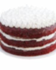 Queque Red Velvet Naked con tres pisos de lustre tradicional. Libre de Azúcar. Apto para diabeticos. Endulzado con Stevia.