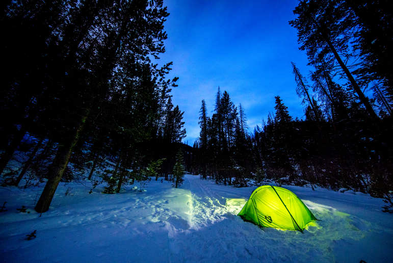 Green Tent in Snow