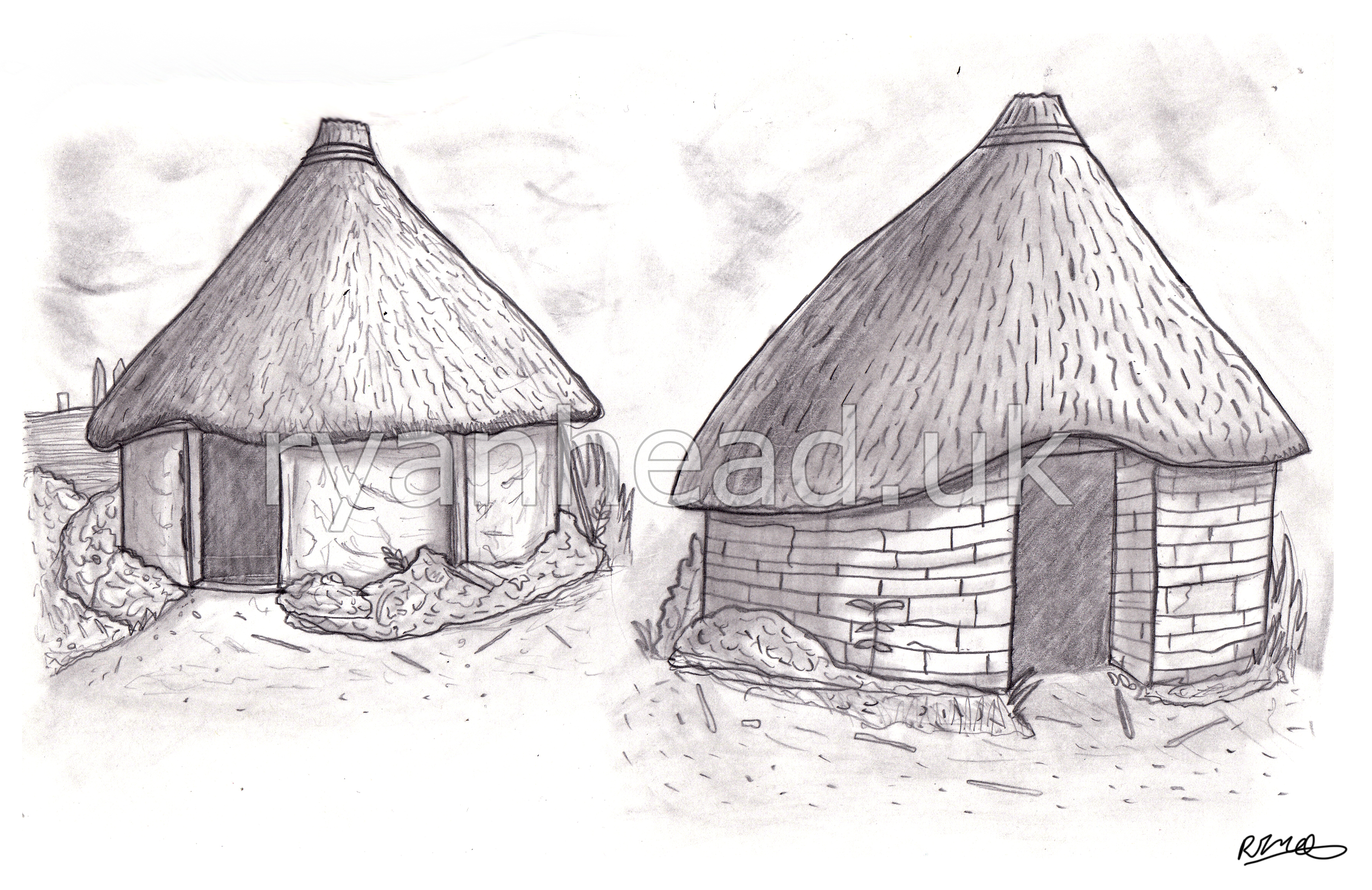 Celtic Village Sketch