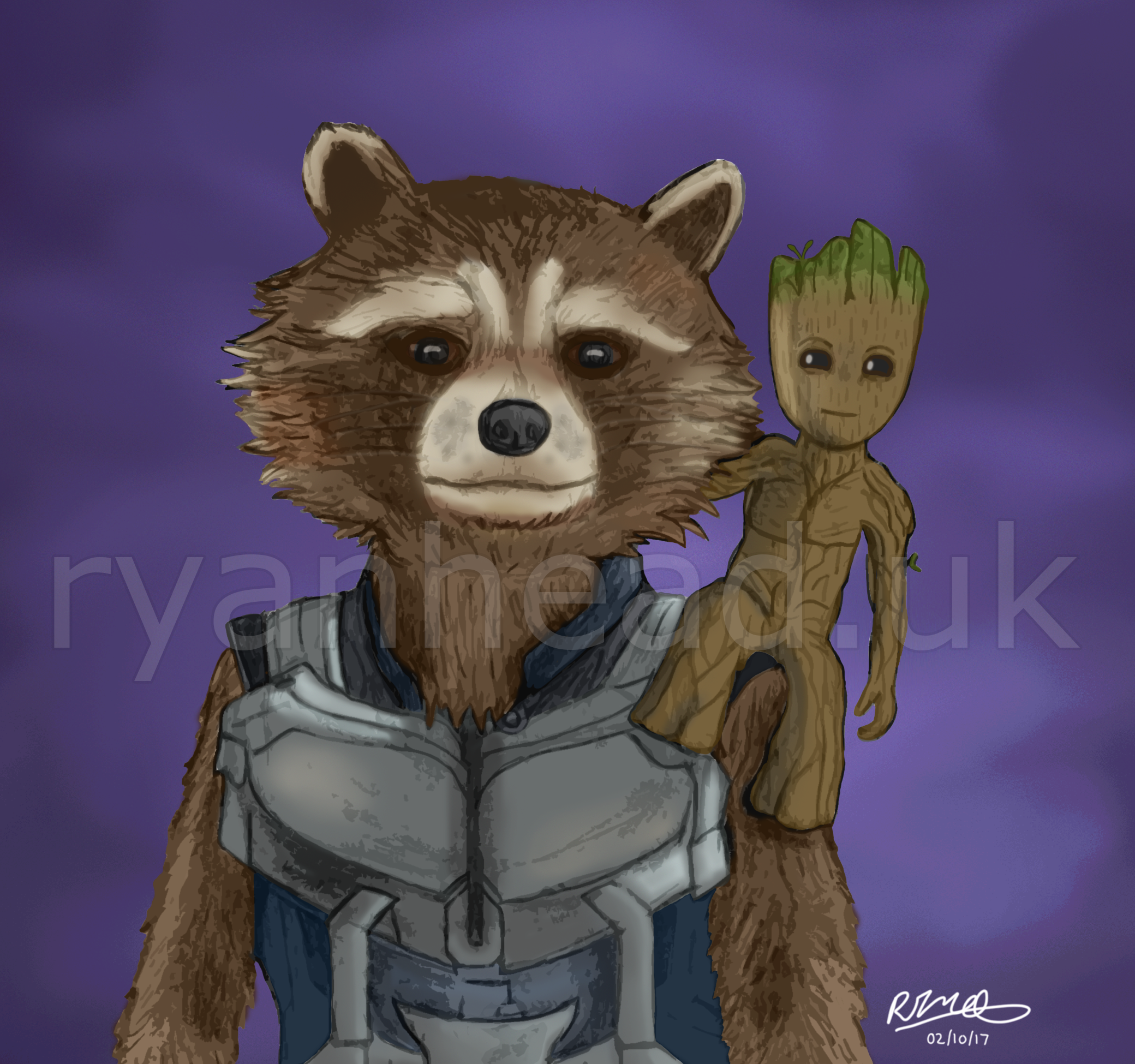 Rocket and Baby Groot Drawing