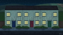 Meadow Road Background - Night