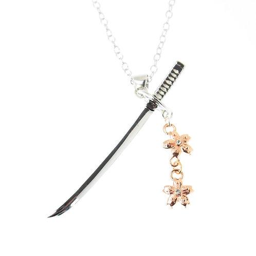 日本刀と桜ネックレス 桜色 シルバー925