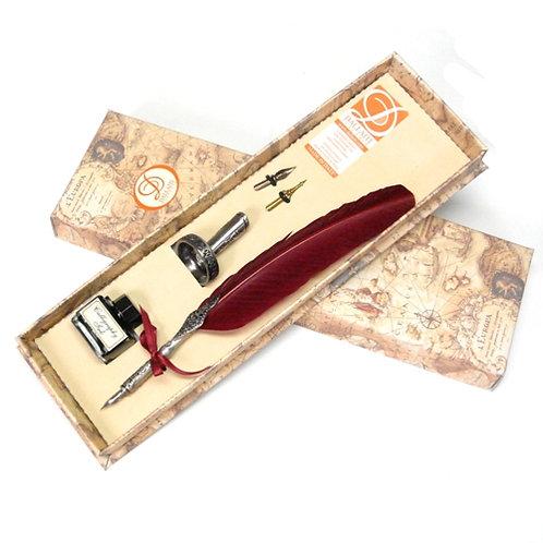 DALLAITIダライッティ ラグジュアリー羽根ペン ボルドー インクボトル・ペン立てセット イタリア製