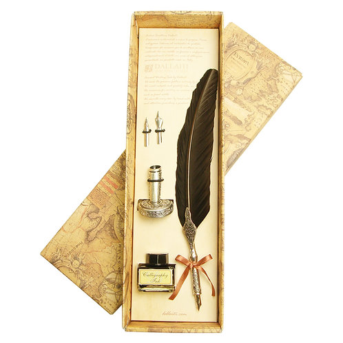 DALLAITIダライッティ ラグジュアリー羽根ペン セピア インクボトル・ペン立てセット イタリア製