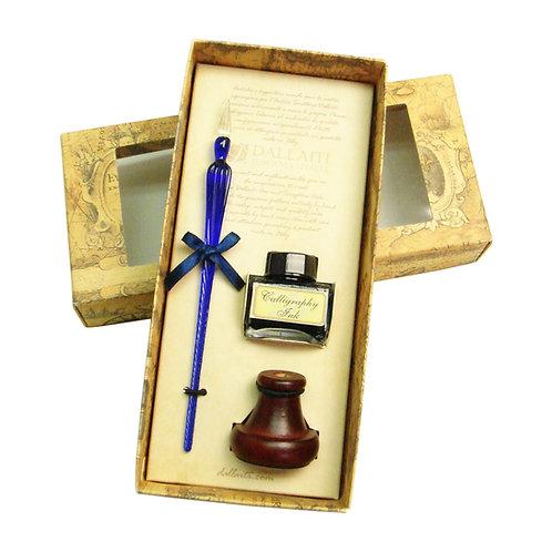 DALLAITIダライッティ ガラスペン ブルー インクボトル・ペン立てセット イタリア製