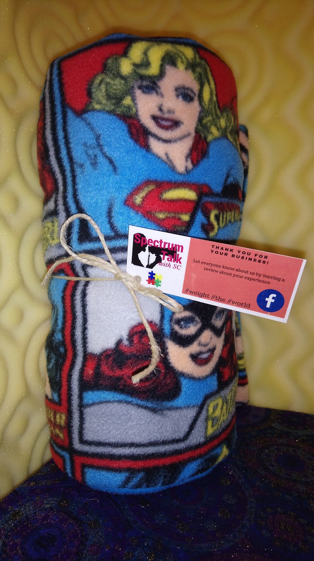 Super Hero Girl Weighted Blanket with Super Woman, Bat Girl, Cat Woman and Wonder Woman