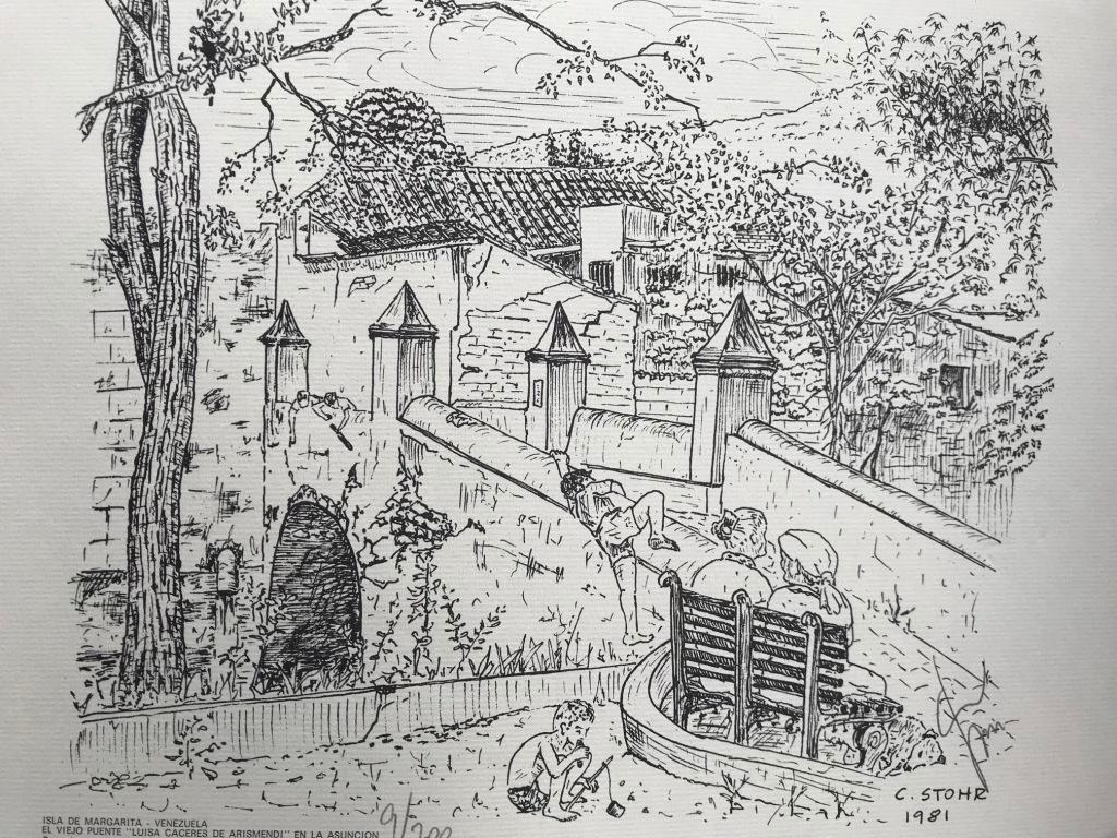 Serigrafía el Viejo Puente Luisa Cáceres de Arismendi en la Asunción