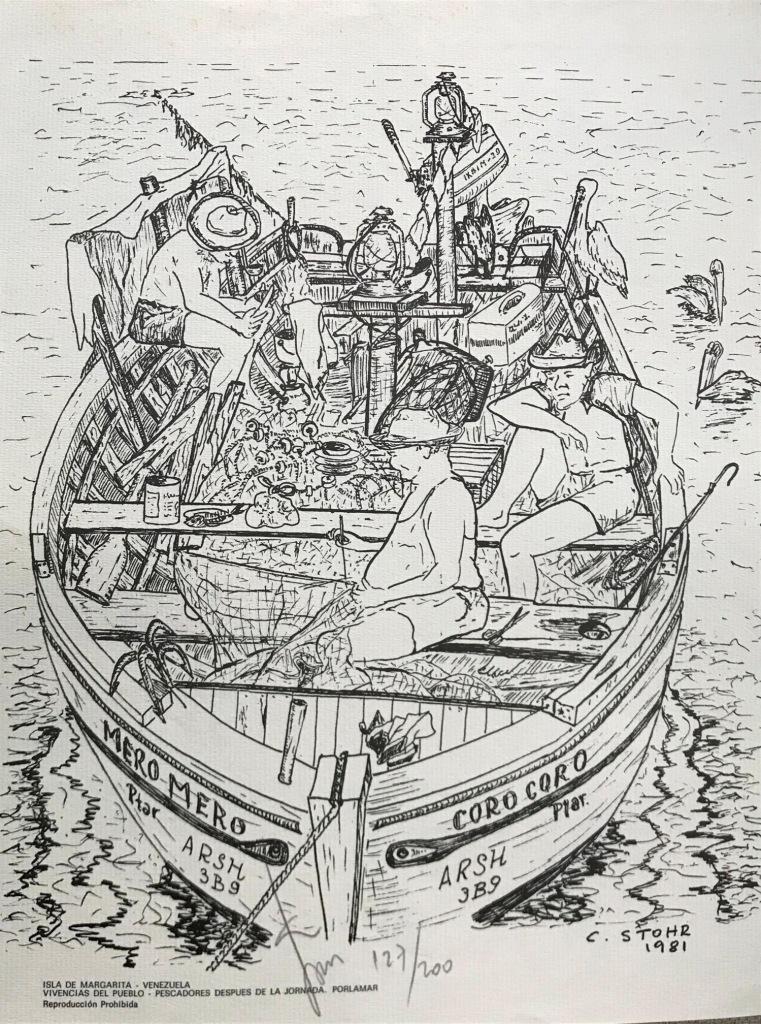 Serigrafia Vivencia del Pueblo Pescadores después de la Jornada Porlamar