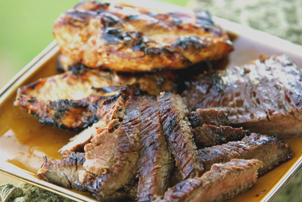 Flank Steak and Chicken