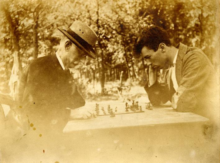 George Chapman playing chess with son, Arthur. Courtesy of Jill Palmer.