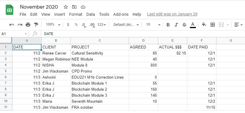 This is a spreadsheet showing how to keep track of income and clients for voice over work.