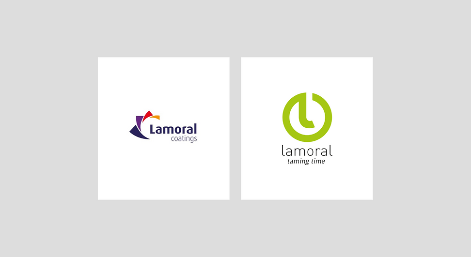 Logo before and logo after of Lamora
