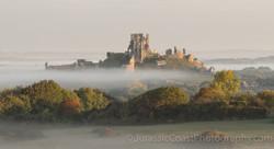 Corfe Castle in the mist