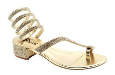 Gold Rhinestone Snake Wrap Sandal
