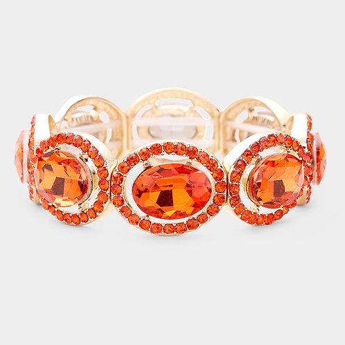Orange Rhinestone Bracelet