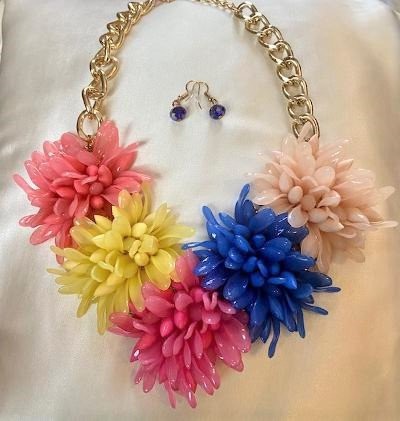Floral Necklace Set (Pink)