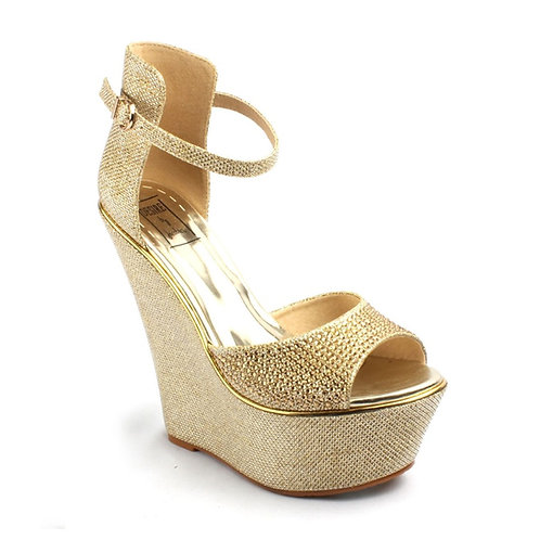 Gold Rhinestone Wedge