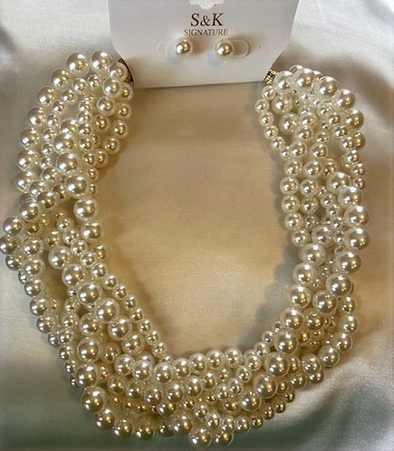 White Pearl Choker Set