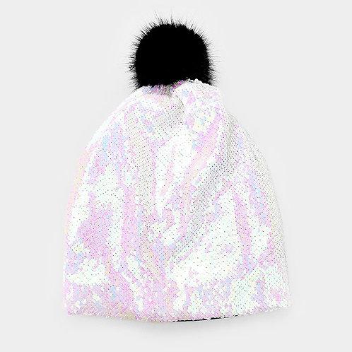 White Sequin Hat