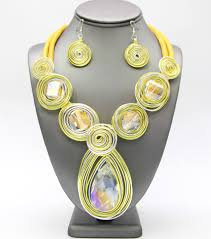Yellow Faux Leather Gem Stone Necklace