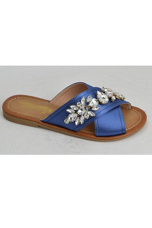 Blue Satin and Rhinestone Flip-Flop