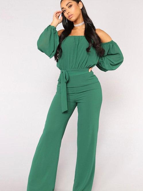 Green Off the Shoulder Wide Leg Jumpsuit