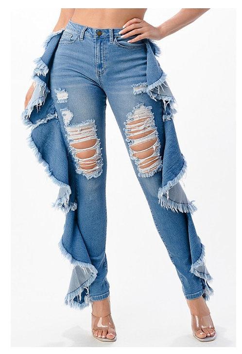 Ruffle Light Wash Jeans