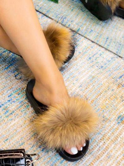 Tan Real Fur Slides