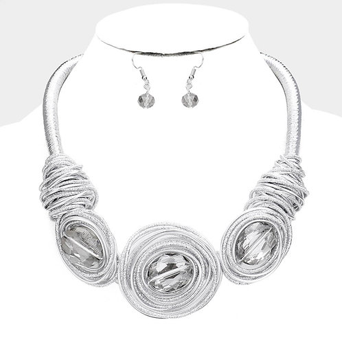 Silver Gem Stone Necklace Set