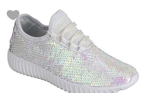 White Sequin Sneaker