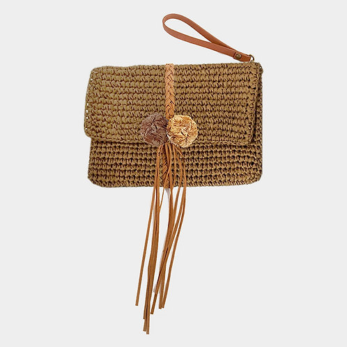 Brown Straw and Fringe Wristlet Clutch