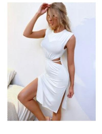 White dress with cut out waist