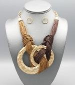Craft Ring Pendant Bib Necklace set